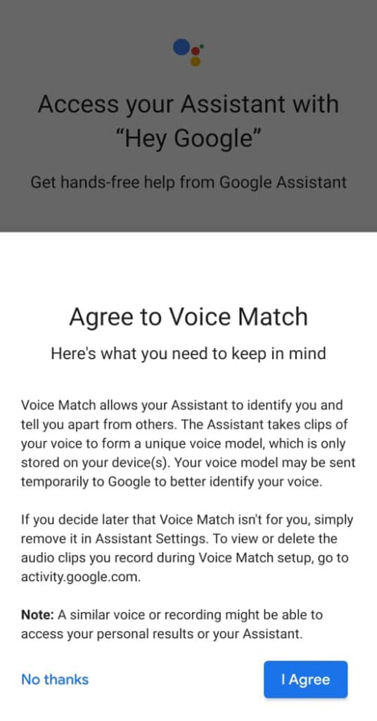 Agree to voice Match